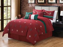 7-Pc Xmas Stocking Snowflake Embroidery Pleated Comforter Se