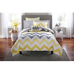 Mainstays Yellow Grey Chevron Bed in a Bag Bedding Comforter