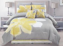 12 - Piece Yellow Grey White floral Bed-in-a-bag QUEEN Size