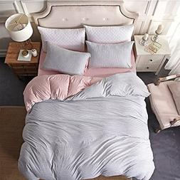 YEVEM Soft Striped Pattern Grey Pink Duvet Cover Set Queen J